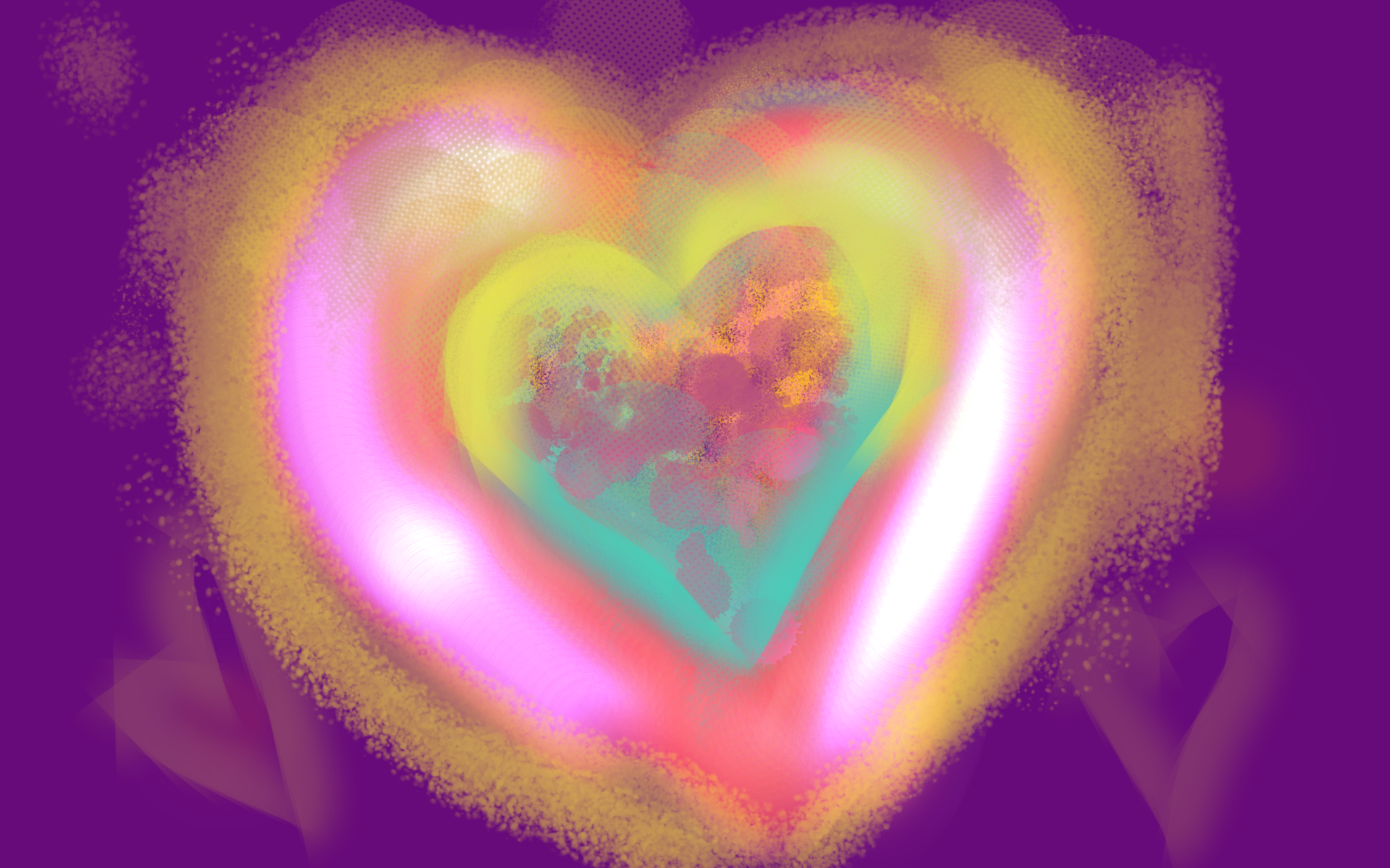 An enlightened heart is bright and glowing with light and colours.  Gold, violet, pink. It radiates !ight and love.