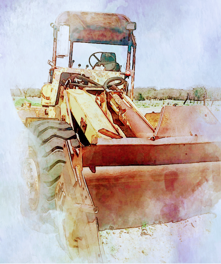Old trusty tractor Farm life Photo edited to appear to be avwaterca wat painting